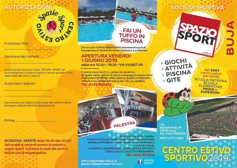Volantino Centro estivo Spazio Sport Buja